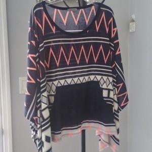 west kei brand poncho type knit.